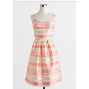 J. Crew gold and pink striped dress